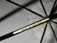 Antique Gold Plate English Made Umbrella With Lucite Crook Handle & Cream Canopy (5 of 17)