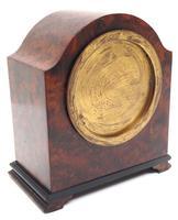Impressive Amboyna Burr Walnut Edwardian Timepiece Mantel Clock by Dent London (6 of 10)