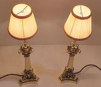 Pair of 19th Century Brass Empire Style Candlesticks Converted to Table Lamps (5 of 6)