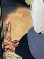 Oil Folk Art Painting Dutch Mother In Kitchen Feeding Her Child (10 of 13)