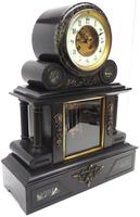 Fine Antique French Slate & Marble Regulator Mantel Clock 8 Day Striking Mantle Clock with Visible Jewelled Escapement (7 of 12)