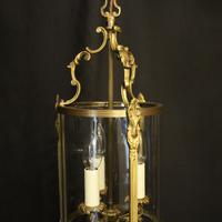 French Gilded Convex Triple Light Antique Hall Lantern (6 of 10)