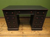 Antique Black Painted Writing Desk with Drawers (3 of 16)