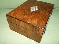 QUALITY Inlaid Figured Walnut Jewellery Box + Tray c.1870 (10 of 14)