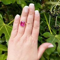 Art Deco 18ct Gold Synthetic Pink Sapphire Cocktail Ring (7 of 8)