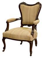 Pair of 19th Century Mahogany Open Armchairs c.1890 (2 of 8)