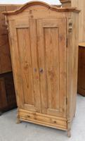 1900s Country Pine 2 Door Dome Top Wardrobe with Base Drawer