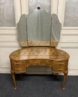 Queen Anne Burr Walnut Kidney Dressing Table