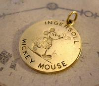 Pocket Watch Chain Ingersoll Mickey Mouse Fob 1930s Original Brass Fob (3 of 8)