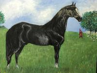 Impressionist Oil Painting Prized Thoroughbred Equestrian Black Horse Portrait (2 of 13)