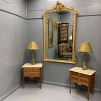 Large French gilt overmantle mirror 185cm (2 of 8)