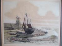 Henry George Walker (1876-1932): coloured etching of Lynmouth Harbour, Devon (2 of 4)