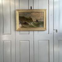 Antique Marine Coastal Seascape Oil Painting Entitled On the Yorkshire Coast by Tom Owen (10 of 10)