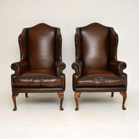 Pair of Antique Georgian Style Leather Wing Back Armchairs (8 of 8)