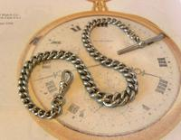Antique Pocket Watch 1890s Victorian Large Silver Nickel Graduated Albert (2 of 11)