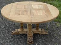 Large Round French Bleached Oak Farmhouse Table with Extensions (25 of 38)