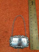 "Sterling Silver Hallmarked Decanter Label ""Sherry"" 1961 C J Vander Ltd (2 of 5)"
