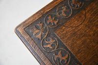 Arts & Crafts Carved Oak Drop Leaf Table (3 of 12)