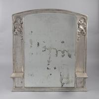 Large French Art Nouveau Silvered Overmantle Mirror (2 of 7)