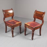 Rare Pair of Brass Inlaid Mahogany & Leather Library Chairs (2 of 19)