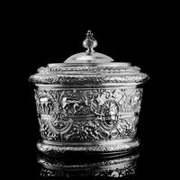 Rare Antique Solid Silver Cellini Tea Caddy Box - Mappin & Webb 1902 (4 of 28)