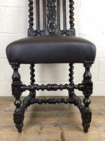 Antique 19th Century Carved Chair with Leather Seat (M-193) (7 of 14)