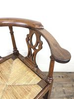Antique 19th Century Oak Corner Chair with Rush Seat (8 of 10)