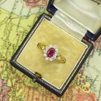 Vintage 18ct gold oval ruby & diamond cluster ring ~ Valentine proposal (9 of 10)