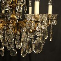 Italian Gilt Bronze & Crystal 6 Light Antique Chandelier (2 of 10)