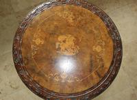 Antique 19th Century Mahogany & Burr Maple Marquetry Veneer Side Table (4 of 14)