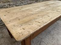 Large Antique Pine Farmhouse Table on Turned Legs (9 of 19)