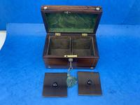 William IV Rosewood Twin Section Tea Caddy with Mother of Pearl Inlay (14 of 14)