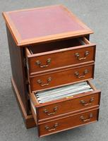1960s Mahogany Filing Cabinet with Brown Leather on Top (2 of 4)