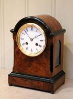Small Victorian Burr Walnut Mantel Clock (3 of 10)