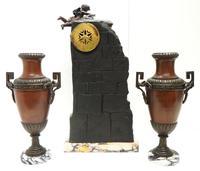 Art Nouveau Figural Mantel Clock Set 8 Day (8 of 11)
