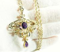 Antique Gold Amethyst And Seed Pearl Necklace (2 of 8)