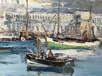 Dutch Oil Painting Fishing Harbour Channel Coast Signed Bernhard Laarhoven (26 of 34)