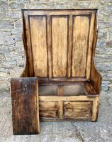 Antique Pine Panelled Box Settle (13 of 16)