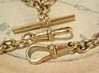 Victorian Pocket Watch Chain 1890s Antique 18ct Rose Rolled Gold Albert With T Bar (7 of 10)