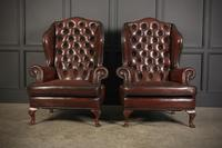 Pair of Queen Anne Style Buttoned Leather Wing Chairs (3 of 11)