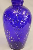 Antique Bristol Blue Glass Shaped Vase (2 of 5)
