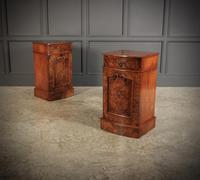 Late Victorian Figured Walnut Bow Front Bedside Cabinets (3 of 17)