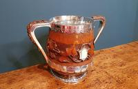 Large Antique Oak Carved Silvered Loving Cup (3 of 8)