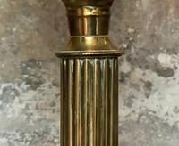 Superb Tall 19thc 'Matador' Brown Ceramic & Milky White Brass Table Oil Lamp (7 of 12)