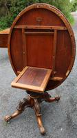 1880's Burr Walnut Loo Table Top with Ornate Base (5 of 5)
