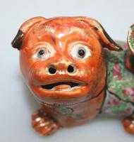 Chinese Canton Famille Rose Porcelain Buddhist Lion Candlestick 19th Century (6 of 9)