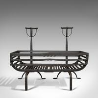 Antique Fire Basket, Pair of Andirons, English, Iron, Fireside, Victorian, 1900 (4 of 12)
