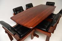 Rosewood & Leather Dining Table & Chairs Vintage 1970's (12 of 19)