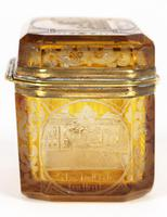 Bohemian Antique Engraved Metal Mounted Overlay Yellow Glass Sugar Casket 19th Century (17 of 19)