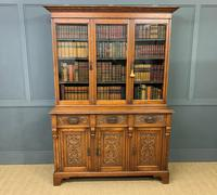 Victorian Carved Oak 3 Door Bookcase